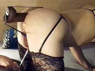 girlfriend stuffs her sissy's holes