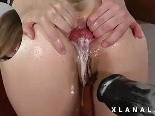Wife's ass destroyed by a huge anal fucking machine