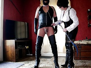 I whip my sissy with her chastity cage