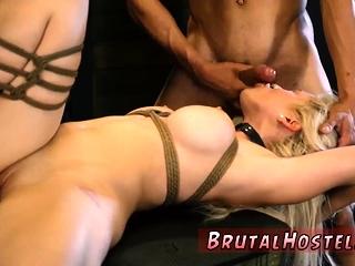 Latex bondage strapon and huge dildo domination Big-breasted
