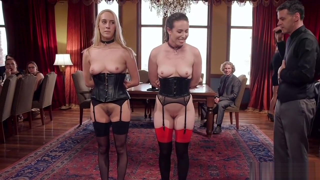 Hot slaves serving in bdsm party