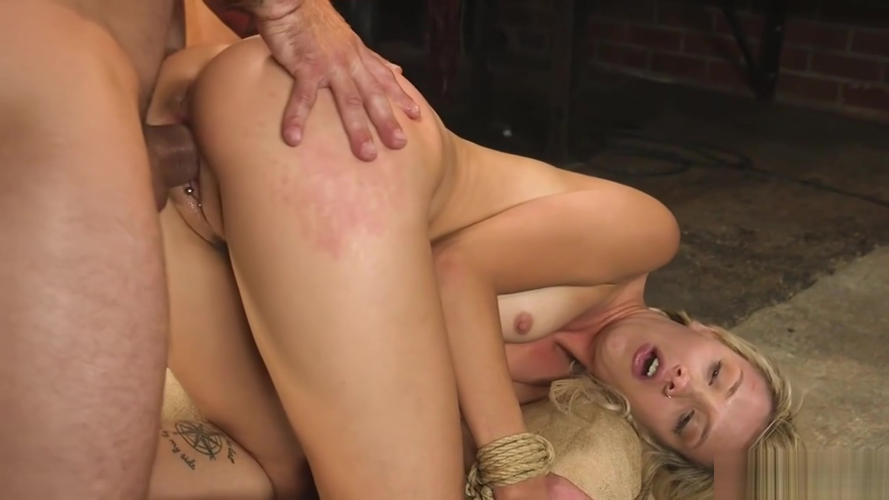 Small tits blonde is fucked in bondage
