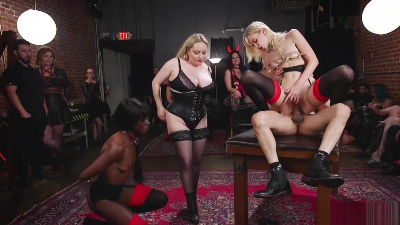 Tied ebony in lezdom bdsm orgy