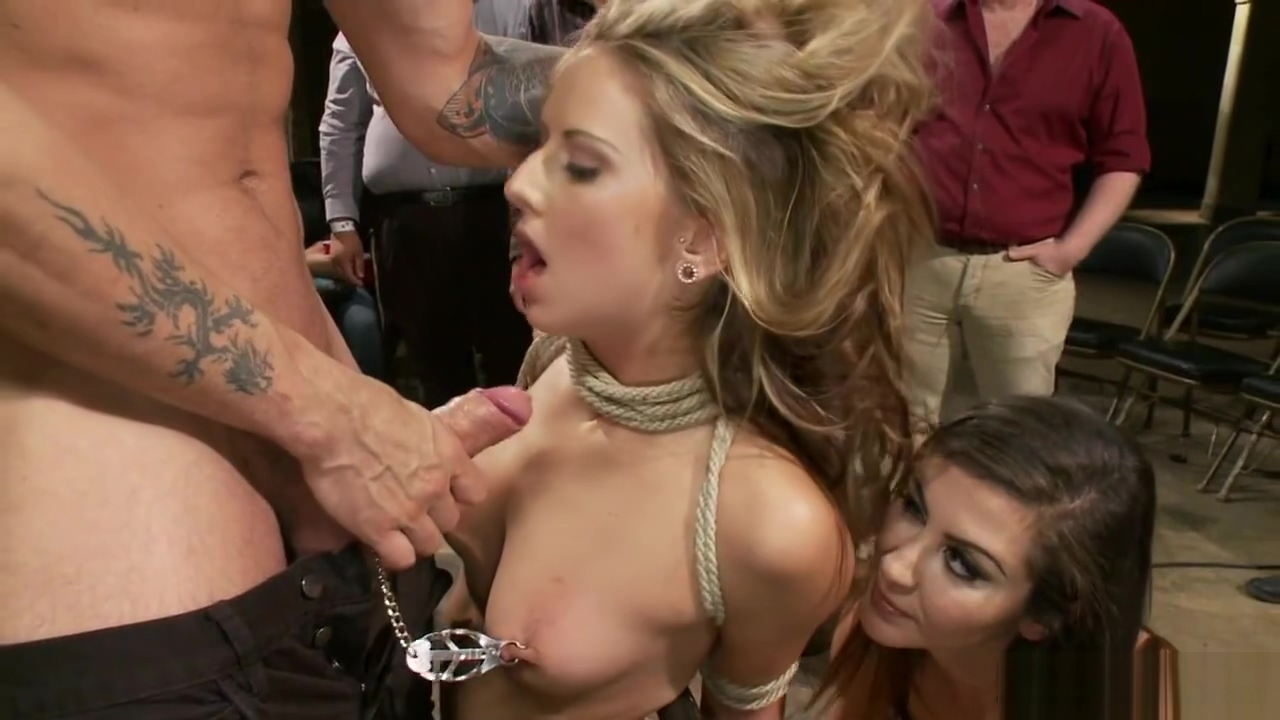 Taped blonde is fucked in public bdsm