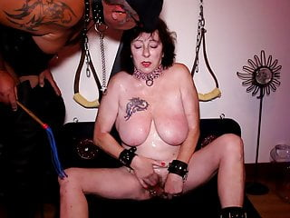 Humiliated whore, slapping tits, piss, spit, blowjob...