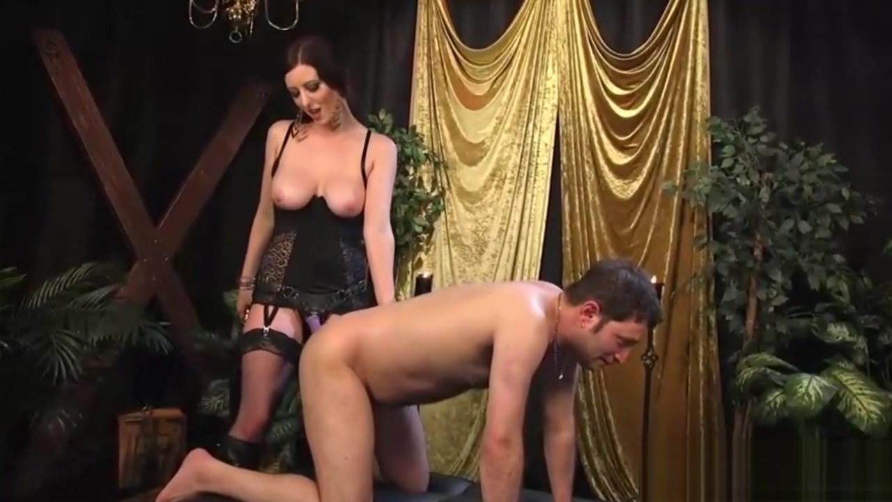 Voluptuous mistress pegging her slave boy