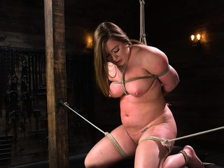 Pawg slave in bondage gets toyed