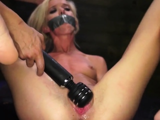 Double slave bondage and jerk first time Halle Von is in tow