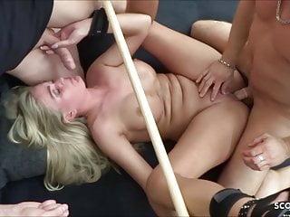 German Slave Girl gets Rough MMF BDSM Threesome Fuck