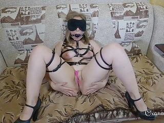 Gag ball, butt plug, vibrator and self-spanking!