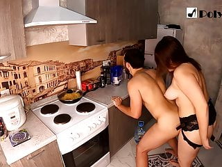 Strapon sex in the kitchen. We fuck each other)