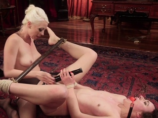 BDSM professor slaps and dildo fucks lesbian