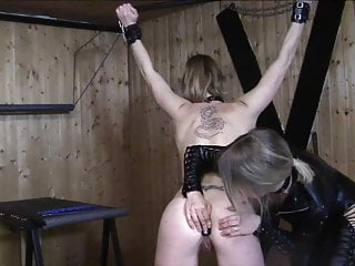 Dumb German whore get soft punishment from her gf