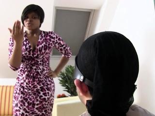 ebony Mistress slap her White slave