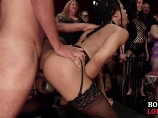 Black BDSM sub gags before doggystyle domination