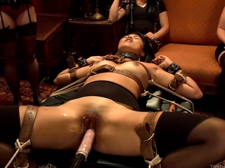 Slaves anal fucked and cummed at bdsm party