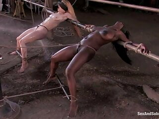 White and black woman fucked in bondage