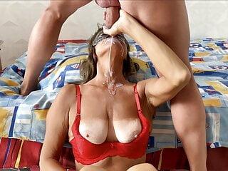 Old lady suck out fresh sperm semen milking facial thong cum