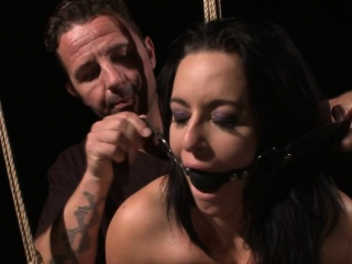 Submissive slave drinks piss and gags
