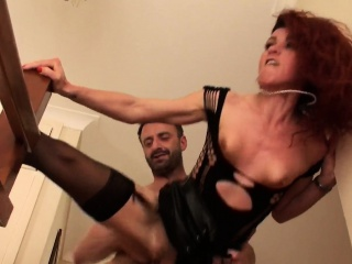 Maledom fucks redhead while cuckold watches