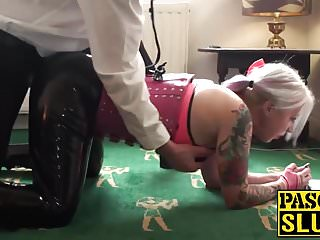 BBW mature milf sex slave gets her face and feet jizzed