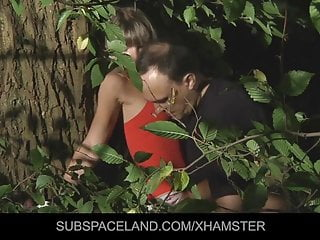 Young blonde tied up and fucked in the woods