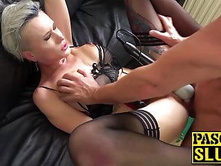 Submissive British babe handcuffed and abused in every hole