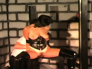 Busty slut with hairy cunt bonded by master